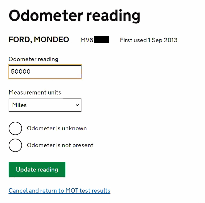 The MOT testing service odometer reading entry page